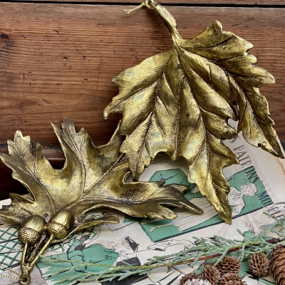 Gold Festive Hanging Leaves
