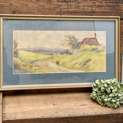 Vintage framed Water colour   country scene
