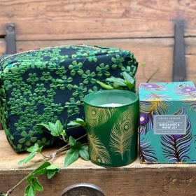 Green jasmine cosmetic bag and large Beramot and White lily candle