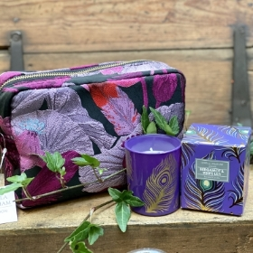 Feathers and Jewels cosmetic bag and bergamot and white lily Candle
