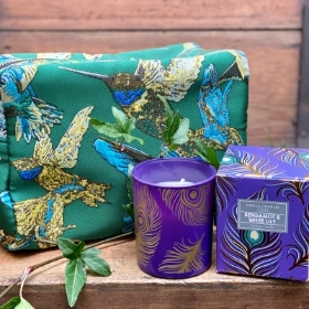 Beautiful Jaquard Cosmetic Bag and Candle