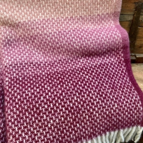 British wool blanket cerise and grey band