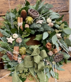 Christmas wreath   whites & soft golds