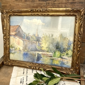 French vintage framed watercolour