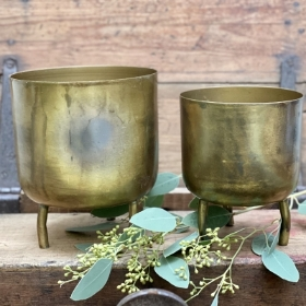 Gold Metal footed pot