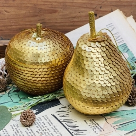Gold sequin festive fruit hanging decorations