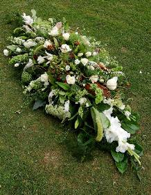 Natural White & Green Casket Spray